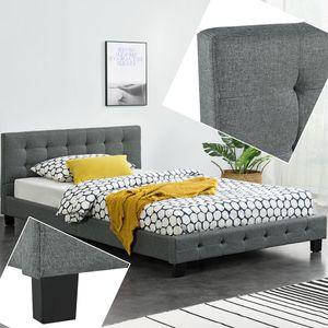 Juskys Polsterbett Manresa 120 x 200 cm - Bett mit Lattenrost und Kopfteil - Zeitloses modernes Design - Grau