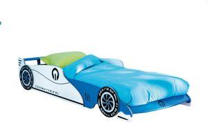 Autobett Leon mit Rollrost 14 Latten blau weiß 90*200 cm MDF Holz Kinder Jugendzimmer Junior Renn Liege Einzel Spielbett