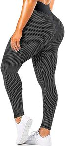 ASKSA Damen Leggings Honeycomb Sporthose Anti Cellulite High Waist Yogahosen Stretch Push Up Workout Yoga Fitness Butt Lift Jogginghose (Schwarz,XL)