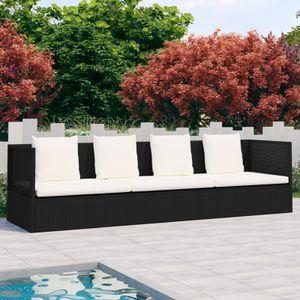yoamall Outdoor-Lounge-Bett mit Polster & Kissen Poly Rattan Schwarz
