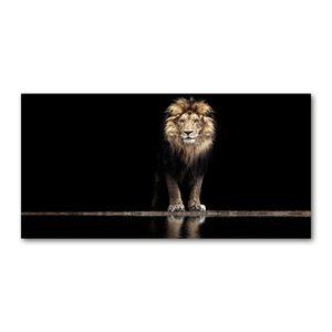Tulup Glas-Bild -140x70- Wandkunst Dekorative Wand für Küche & Wohnzimmer - Tiere - Löwen-Porträt - Braun