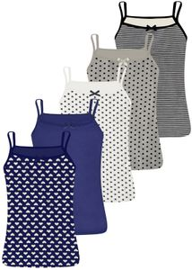 5 Mädchen Unterhemden Spagettiträger - verschiedene Motive 140-146 (10-11 Jahre)