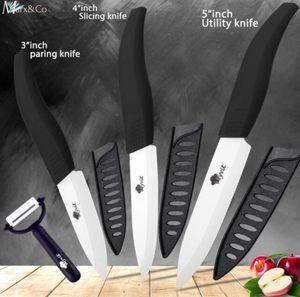 Hochwertiges Keramikmesser Set 4-teilig Küchenmesser Set inkl. Schäler mit Klingenschutz Keramik Messer GERMANY