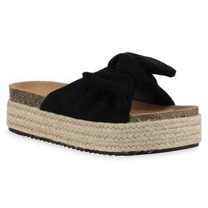 Giralin Damen Sandaletten Pantoletten Kork Optik Bast Schleifen Schuhe 837465, Farbe: Schwarz, Größe: 39