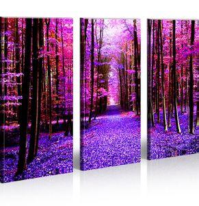 Bilder auf Leinwand Run Bäume Wald Natur Kunstdruck XXL Bild Poster Leinwandbilder Wandbilder