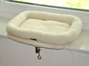 Katzen Fensterliege Teddy weiß 46 x 36 cm