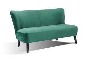 SalesFever Polstersofa 2-Sitzer | Stoffbezug in Samt | Beine Hevea Holz schwarz | Vollpolsterung | B 143 x T 77 x H 80 cm | seegrün