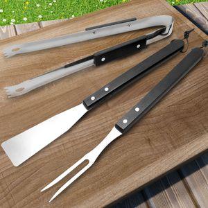 Deuba® Grillbesteck 3 tlg. Set aus rostfreiem Edelstahl mit Echtholzgriffen - Grill Zubehör Zange, Wender und Gabel