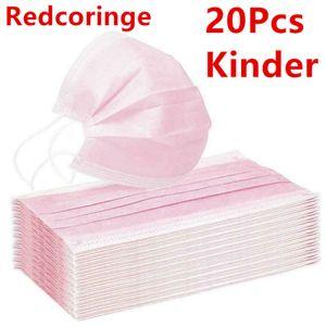 20 Stück Kinder Einwegmasken Rosa Kindergesichtsmaske Einweg-3-lagige Mundmaske