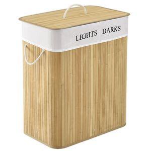 Juskys Bambus Wäschekorb Curly – 100 Liter Wäschesammler mit Deckel, Griff & Stoff Wäschesack – 2 Fächer Wäschesortierer – Wäschebox in Natur