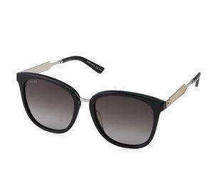 GUCCI Uni-Erwachsene Sonnenbrille, ACETATE, Schwarz (Black/Grey), Silber, Gold, 55