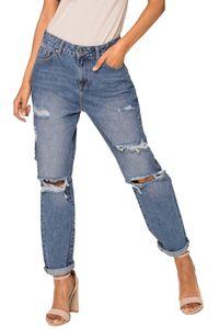 Damen Denim Boyfriend Jeans High Waist Destroyed Hose Zerstörte Löcher Used Look Pants 5-Pockets, Farben:Blau, Größe:38