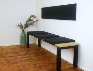 Klemmkissen Sitzkissen mit 2 Leisten 37cm Klemm-Tiefe Kunst-Leder braun schwarz beige grau taupe, Farbe:schwarz
