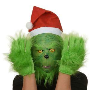 Latex Grinch Maske mit Weihnachtsmütze und Handschuhe Weihnachtskostüm Requisiten für Erwachsene, Weihnachten, Cosplay-Kostüm, Halloween Maske