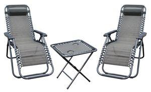 Relax Set aus 2x Sessel mit Kopfkissen und 1x Tisch, Farbe: Schwarz/ Taupe