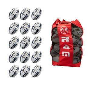 Ram Rugby Training Match Rugby Ball Bundle - mit Tragetasche Rot - 4 - 15 stk.
