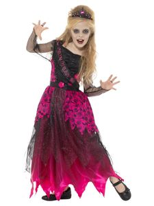 Kinder Kostüm Gothic Zombie Ballkönigin Halloween 4 bis 6 Jahre