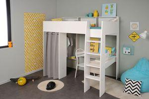 Jugendbett Tomke 11 weiß 205x193x132 cm Hochbett mit Schreibtisch