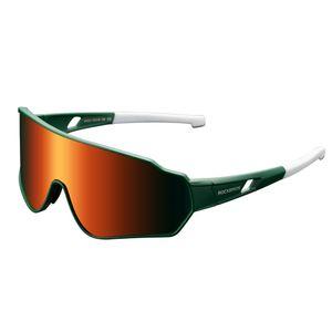 ROCKBROS Fahrradbrille Polarisiert Sonnenbrille Radbrille Vollformatbrille UV400 Grün