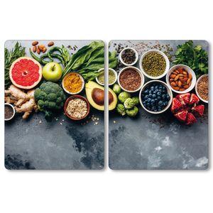 Kesper XL Herdabdeckplatte - Motiv: Healthy Kitchen, 50 x 38,5 x 0,8 cm, 3664313