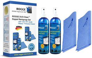ROGGE DUO-Clean Doppel Reinigungs Set. 2x 250ml Screen Cleaner inl. 2 Prof. Microfasertücher 38x40cm. Für LCD-TFT-LED-UHD-OLED und Plasma geeignet.