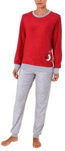 Damen Frottee Pyjama lang mit Bündchen - 61696, Farbe:rot, Größe:44/46