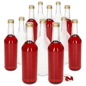 12-tlg. Geradhalsflasche 500 ml + Schraubverschluss Gold Klarglas 0,5 Liter Rund-/Dosierflasche