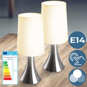 Jago® Tischlampe mit Dimmer Touchfunktion - EEK: A++ bis E, 2er Set, E14, LED, mit Berührungssensor - Nachttischlampe, Tischleuchte, Nachttischleuchte - für Wohnzimmer, Schlafzimmer, Kinderzimmer (2er)