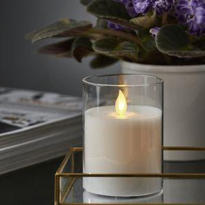LED Kerze/Windlicht 'Twinkle' - Echtwachs - mechanische Flamme - Timer - H: 10cm - weiß