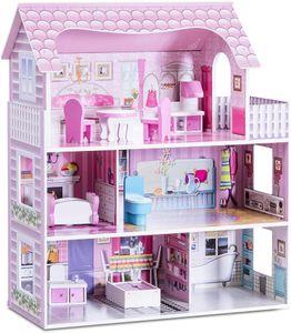 GOPLUS Puppenhaus mit Möbeln und Zubehör, Puppenstube mit 3 Spielebenen mit Accessoires, Haus für Puppen 3 Etagen, Prinzessinhaus Selber Bauen Rosa, Spielhaus mit Wohnzimmer Schlafzimmer Badezimmer