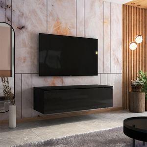 Selsey TV-Board SKYLARA - TV-Bank in Schwarz Matt / Schwarz Hochglanz - 140 cm breit - stehend / hängend