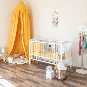 """Mitwachsendes Babybett """"Basic"""" 120x60 cm zum Kinderbett umbaubar, Kiefer, mit Schlupfsprossen, ohne Schublade, in weiß"""