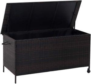SONGMICS Gartenbox 400 L | 121 x 56 x 60,5 cm | aus Polyrattan Auflagenbox mit Auto-Return-Zylinder Sitztruhe wasserfest braun GGC02BR