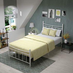 Metallbett 90x200 Bettgestell Bettrahmen mit Lattenrost Gästebett Einzelbett Bettrahmen Jugendbett mit Kopfteil Design Bett In Beige