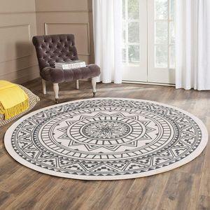 MEIYOU Mandala Teppich Rund Grau 120 cm Baumwollteppich mit Quasten Flachgewebe Teppiche Waschbar Retro Teppiche