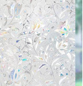 Fensterfolie Selbsthaftend Blickdicht Sichtschutzfolie Fenster 3D Fensterfolie Glasfolie Dekofolie Statisch Haftend ohne Klebstoff UV Schutz Blumen Tulpe 90 x 200cm für Bad Büro Wohnzimmer