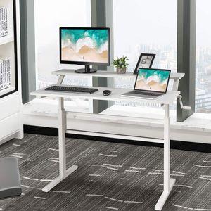 COSTWAY Schreibtisch höhenverstellbar, Stehtisch mit Monitor Regal, Sitz-Steh-Schreibtisch ergonomisch, Arbeitstisch mit Handkurbel, Computertisch für Arbeitszimmer Zuhause (Weiß)