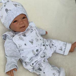 Baby Mädchen Jungen Set 3-teilig Strampler Shirt + Mütze Gr. 3-6 Monate (62/68) grau weiß