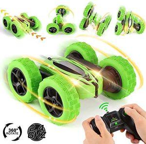 Ferngesteuertes Auto, Wiederaufladbar RC Stunt Auto Rennauto, High Speed Spielzeugauto, Radio Ferngesteuerter Buggy Auto, Auto Spielzeug Rennfahrzeug für Kinder Jungen Mädchen (Grün)