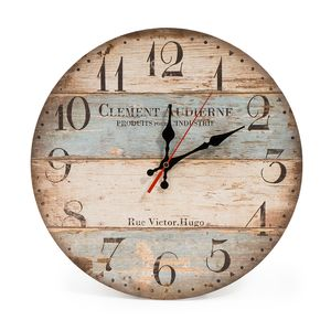 LOHAS Home 30CM Holz Wanduhr/Küchenuhr im Landhausstil Stille Nicht-tickende Vintage mit lautlosem Uhrwerk für die Küche,Home Office, Wohnzimmer und Schlafzimmer