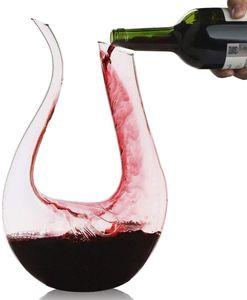 1.5L Wein Dekanter U-Form Bleifreie Kristallglas Weinkaraffe Rotwein Dekantierer einfach zu Rot&Weiß weinausgießer