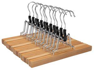 VonBueren 12x Hosenbügel | Hosenspanner Holz | Klemmbügel 360 Grad drehbarer Haken | weiche Filzeinlage