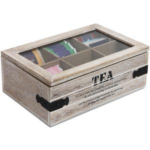 Wohaga® Aufbewahrungsbox 'Selection' Tea mit Sichtfenster 24x16xH8cm Natur/Schwarz