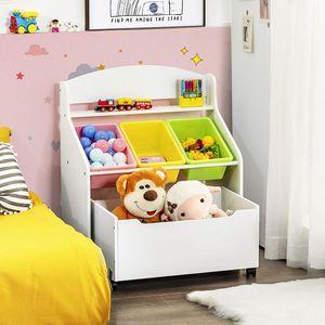 COSTWAY Spielzeugregal mit rollbarem Fach, 3 kleinen Aufbewahrungsboxen und Ablage, Spielzeugschrank, Kinderregal, Spielzeug Organizer ideal für Kinderzimmer und Kindergarten (Weiß)