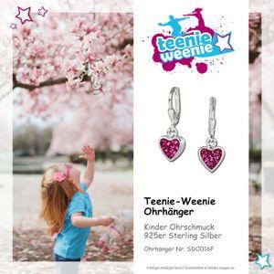 Teenie-Weenie Ohrhänger Kinder Silber pink Zirkonia Herzchen Ohrringe SDO016P