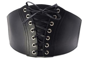 Damen Gürtel Breit Stretch Schnalle Taille Corset Taillengürtel Hüftgürtel Korsett Gothic, G16 Schwarz One-Size