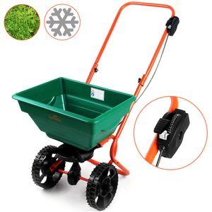 Gardebruk Streuwagen 25L Streubreite einstellbar praktische Abstellfüße Saatgutstreuer Düngerstreuer für Salz Dünger Rasen Split Saatgut