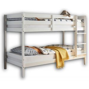 Etagenbett Kinderbett Spielbett Leiter teilbar 56-905-17 MORITZ Kiefer massiv Weiß 90 x 200 cm