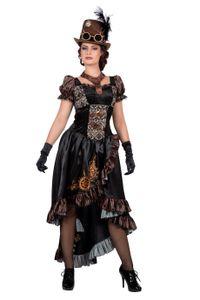 Steampunk Kleid Brokat Schwarz/Braun/Gold mit Halsband Damen Kostüm, Größe:44/46