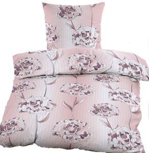 Seersucker Bettwäsche 135x200 +80x80 cm, weiß rose, Blüten, bügelfrei, Microfaser, + Waschhandschuh